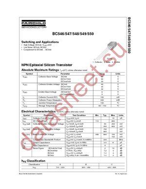 BC547 даташит Fairchild Semiconductor бесплатно скачать в pdf ...
