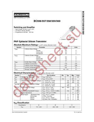 BC557 даташит Fairchild Semiconductor бесплатно скачать в pdf ...