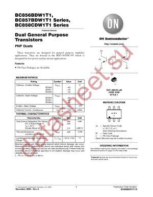 BC857BDW1T1 даташит ON Semiconductor бесплатно скачать в pdf ...