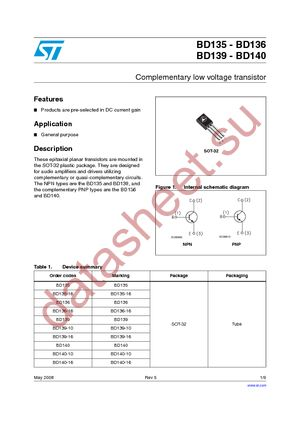 BD139-16 даташит STMicroelectronics бесплатно ...